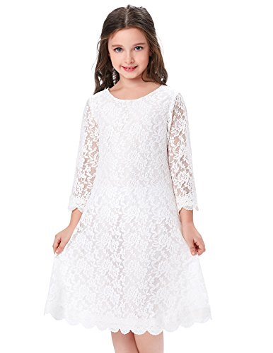 Girls Princess Lace Long Sleeves Flower Dresses (11-12yrs) (Girls Lace White Dress)