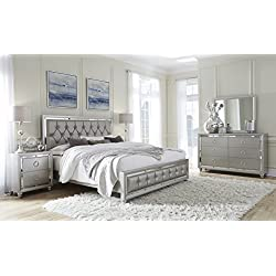 Global Furniture RILEY-QB Tufted Bed, Queen, Silver