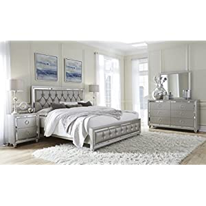 Global Furniture USA QB Riley Tufted Bed, Queen, Silver