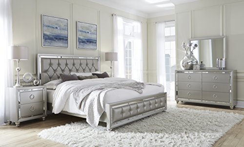 Global Furniture QB Riley Tufted Bed, Queen, Silver