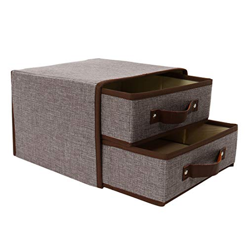 (uxcell Large Foldable Linen Fabric 2-Drawer Storage Cube Bin with Faux Leather Handle, Cloth Storage Chest Unit for Closet Organizer for Bedroom Office Gray)