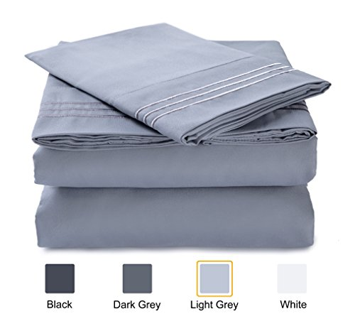 Finnhomy Queen Size Premier Bedding Set of 4 pc 1800 Brushed Microfiber Breathable Bedspread Solid Color Soft 2 Pillowcase 1 Flat Comfort Sheet 1 Fitted Bed Clothes Finnkarelia Series Light Grey