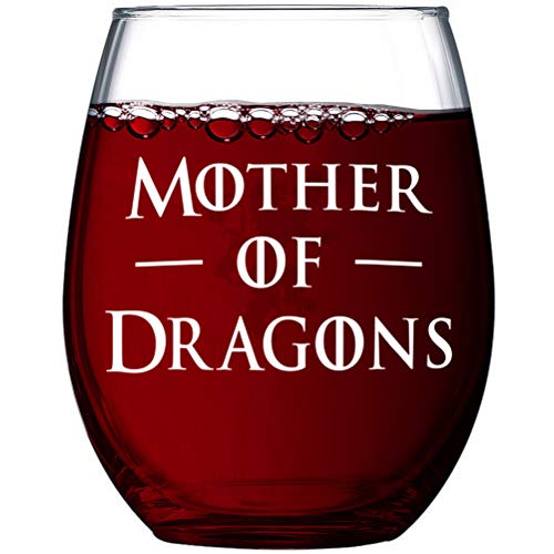 Game of | Mother of Dragons | Thrones Premium 15oz Stemless Wine Glass & Gift Box (Stemless Wine)