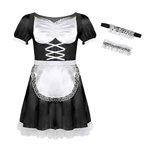 inlzdz Men's Frilly Satin Flutter Sissy French Maid Dress Costume Crossdress Nightwear Pajamas Black Large -