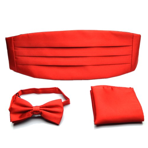 PenSee+Formal+Red+Pre-tied+Bow+Tie+%26+Pocket+Square+%26+Cummerbund+Set