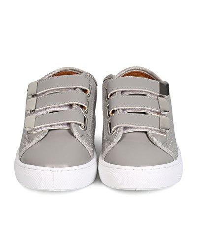 Qupid Gk20 Sneaker Perforata Da Donna Con Tripla Cinghia In Similpelle - Grigio