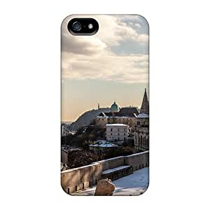 Iphone 5/5s Hard Back With Bumper Silicone Gel Tpu Case Cover Fortress Overlooking A City In Winter