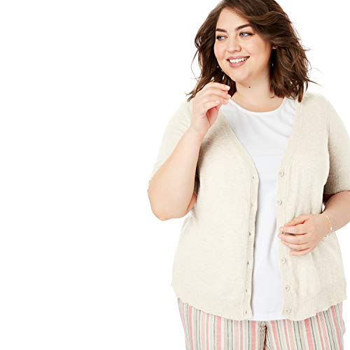 (Woman Within Women's Plus Size Short Sleeve V-Neck Cardigan - Heather Sand, 3X )