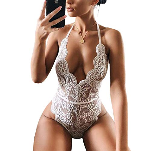 Women Lace Eyelash Teddy Bodysuit for Women Lingerie One Piece Flower Negligee Babydoll Nightwear (Medium, 01-White)