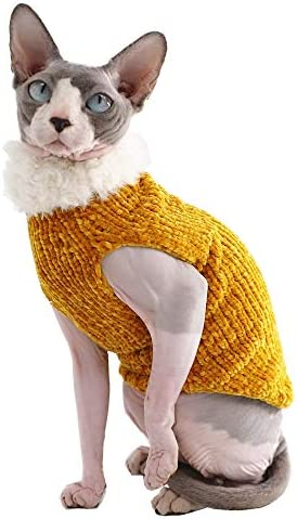 Sphynx Cat Clothes Winter Warm Faux Fur Sweater Outfit, Fashion high Collar Coat for Cats Pajamas for Cats and Small Dogs Apparel, Hairless cat Shirts Sweaters (XL (9.9-13.2 lbs), Ginger) 17