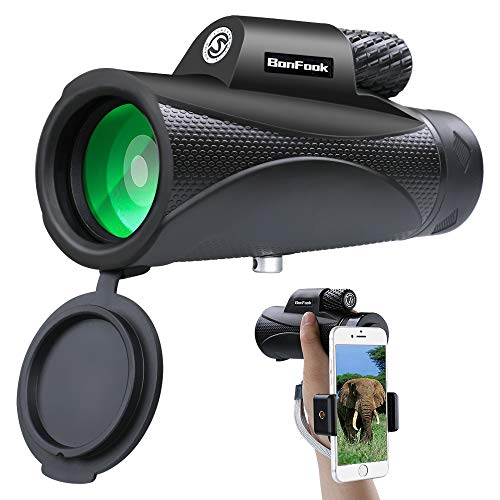 BonFook Monocular Telescope,10x42 High Power HD Portable Waterproof and Shockproof Monocular with Smartphone Holder,BAK4 Prism FMC Lens for Bird Watching Hunting Camping