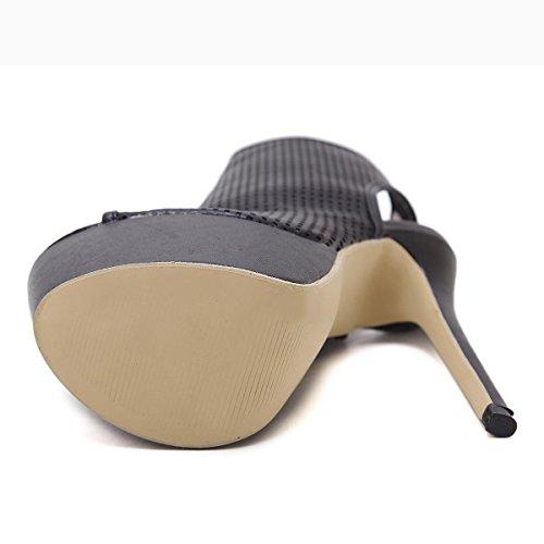 yc Sandalias Black Huecos Zapatos Mujeres L Pescado Tacones Altos De Individuales A1BwdZdSqn