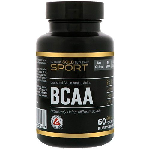 Amino Gold Capsules - California Gold Nutrition, BCAA, Branched Chained Amino Acids, Japanese Sourced- AjiPure Amino Acids, 500 mg, 60 Veggie Capsules