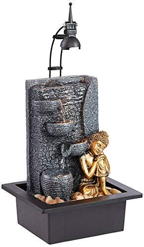John Timberland Kneeling Buddha Asian Zen Indoor Table-Top Water Fountain with Light LED 17