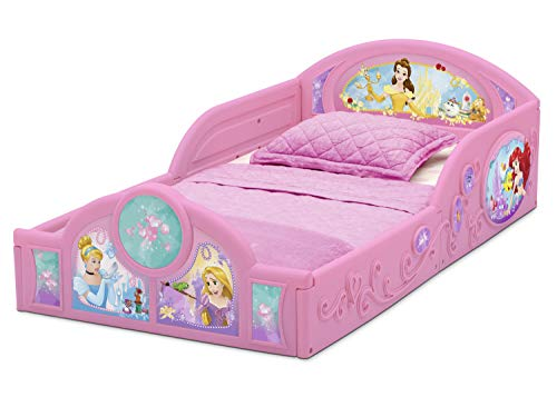 Delta Children Deluxe Character Toddler Bed with Attached guardrails, Featuring Frozen and Princess 6
