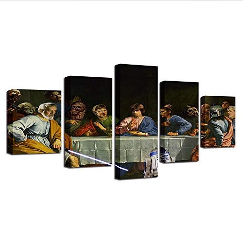 Yyjyxd Modular Canvas Paintings for Living Room Wall Art 5 Pieces Pictures Hd Prints Last Supper Poster Home Decor Framework,8 X 14/18/22Inch,Without Frame -