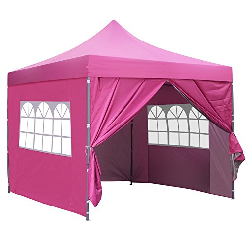 10×10 Ft Outdoor Pop Up Canopy Tent With 4 Removable Side Walls Instant Gazebos Shelters Pink