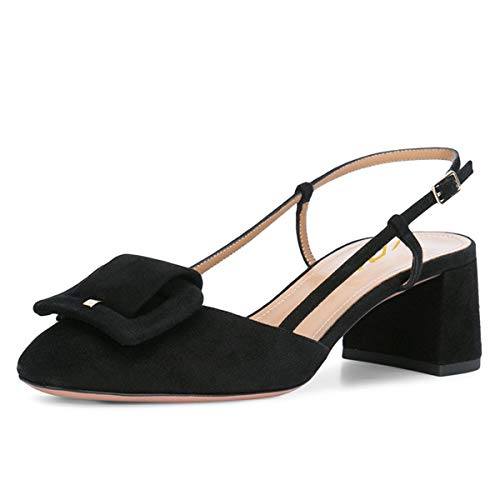 (YDN Women Square Toe Comfy Block Mid Heels Slingback Cutout Dress Pumps with Front Buckle Black 8.5)