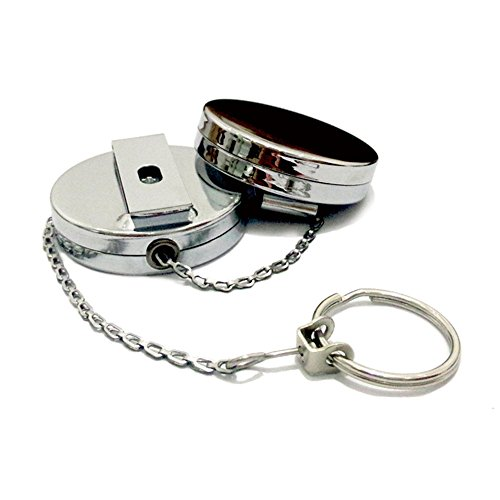 Yueton Chroming Retractable Belt Clip Badge Reel with Metal Chain, Key ID Badge Holder Belt Clip Chain Pull (Silver)