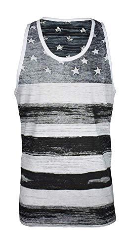 Licensed Mart Men's American Flag Stripes and Stars Tank Top Shirt, Black/White, XL ()