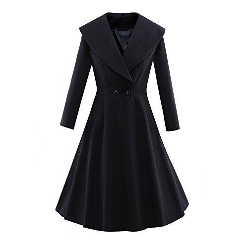 lends Coat Trench Coat Long Jacket Outwear V Collar Overcoat (Long Dress Coat)