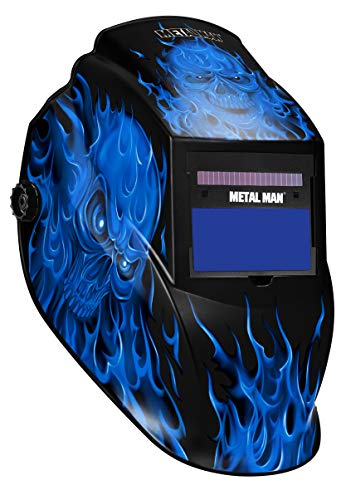 Metal Man Auto Darkening Welding Helmet With 9 To 13 Adjustable Shade Control PLUS GRIND Solar Powered Plus AAA Battery Backup| Blue Skull Flame Graphic Design| For MIG, TIG, Stick Welding & More