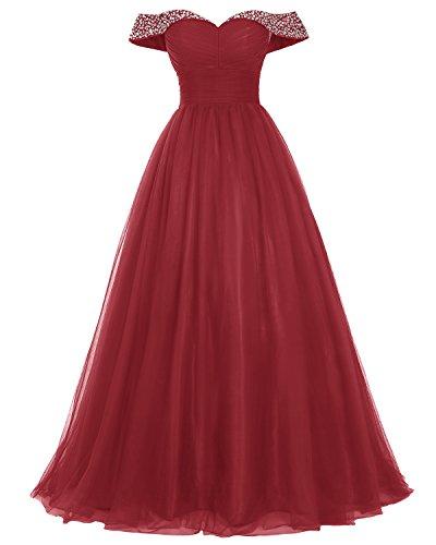 Bridesmay Longue Robe De Bal En Tulle Perles De Robe De Soirée Épaule Robe Formelle Rouge Foncé