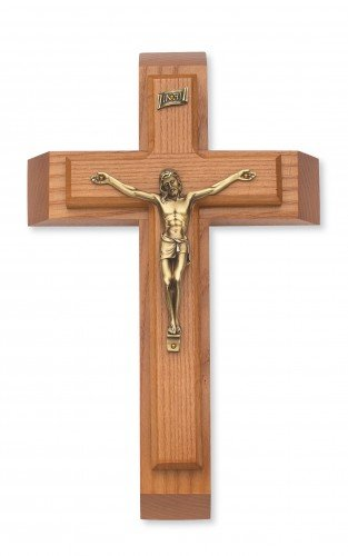 McVan Inc. Walnut Wood Sick Call Crucifix Set Religious Gift Decor, 12 Inch