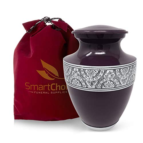 (SmartChoice Elegant Glossy Purple Cremation Urn for Human Ashes-Affordable Funeral Urn Adult Urn for Ashes Handcrafted Urn)