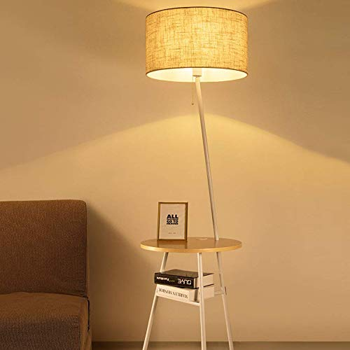 Wellmet Contemporary Floor Lamp with End Table and USB Port Attached, Combination Adjustable Drum Shade Floor Lamp Beside Table Built in Charging Station Use As Nightstand for Sofa Living Room Bedroom