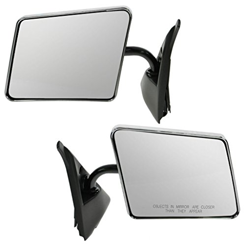 Stainless Steel Chrome Manual Side View Mirrors Pair Set for Blazer S10 Jimmy (S10 85 Mirror Chevrolet Chevy)