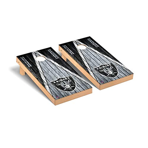 Victory Tailgate Oakland Raiders NFL Football Regulation Cornhole Game Set Triangle Weathered Version