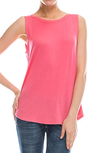 Flowy Relaxed Cool Loose Fit Tank Tops: Workout Rayon Knit Jersey Regular and Plus Size Coral XL