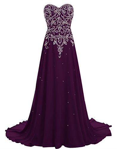 Train Dress Grape Beading Gown Chiffon BeryLove Prom with Long Corset Women's Evening FIwxvPv