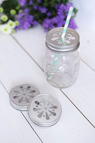 LIEBLINGSGLAS 4 x Blumendeckel Silber - für Ball Mason Glas