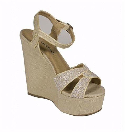 Staden Klassificerade Womens Pemba Peep Toe Blomma Strappy Sandal Med Ankelbandet I Beige Linne