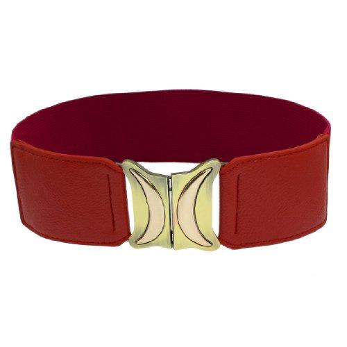 Half Moon Buckle Belt (Metal Double Half Moon Style Interlocking Buckle Waist Belt)