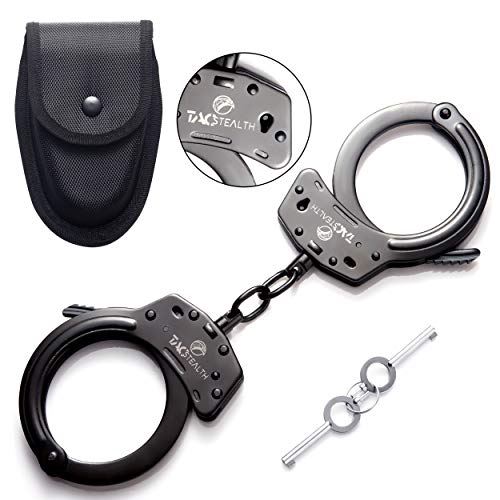 TacStealth Double Lock Real Steel Handcuffs with Two Keys & Handcuffs Case | Heavy Duty Black Steal Professional Grade | Bend/Break Free Secure Restraint for Police Officer & Law Enforcement Constable