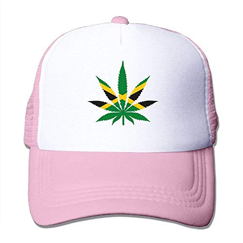 NDJHEH Gorras béisbol Two Tone Trucker Hat - Weed Leaf with Jamaica Flag - Adjustable Mesh Hat