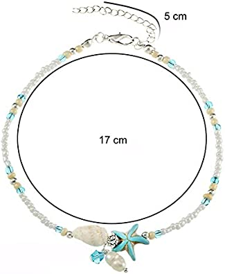 Seestern Meerjungfrau Prinzessin zu Stolberg Serie Delphin T/ürkis-Silbern Muschel Boho Fusskettchen in den Variationen Schildkr/öte