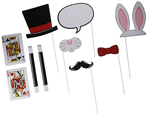 Creative Converting 324435 Assorted Photo Booth Magic Party Props (10 Piece), Black/Red