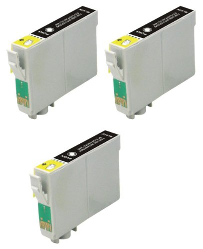 Virtual Outlet ® 3 Pack Remanufactured Black Inkjet Cartridges for Epson T098 #98, T099 #99, T098120 Compatible with Epson Artisan 700, Artisan 800, Artisan 710, Artisan 810, Artisan 725, Artisan 835, Artisan 837,Artisan 730 (3 Black)