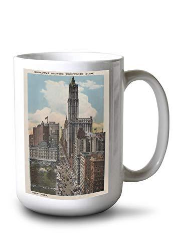 Lantern Press New York, NY - Broadway Showing Woolworth Building (15oz White Ceramic Mug) ()