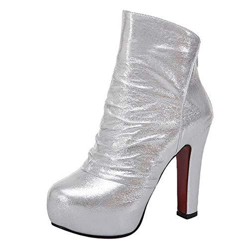 Boots Heel Platform Short Carolbar Women's Block Chic Silver SYqfq7