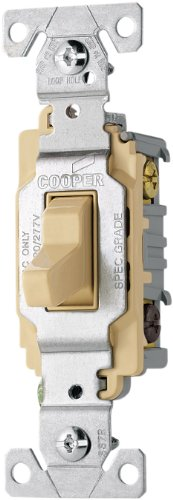 Eaton CS320V-SP-L 20-Amp, 120/277-Volt/AC Commercial Specification Grade 3-Way AC Compact Toggle Switch, (3wy Toggle)