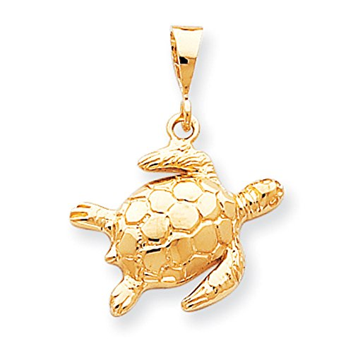 Pendants Beach and Sea Life Charms 10K Yellow Gold Turtle Charm Pendant