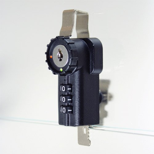 Combi-Ratchet 3-Dial Black Hinged Door Combination Lock With Key Override for Glass Display - Rachet Lock