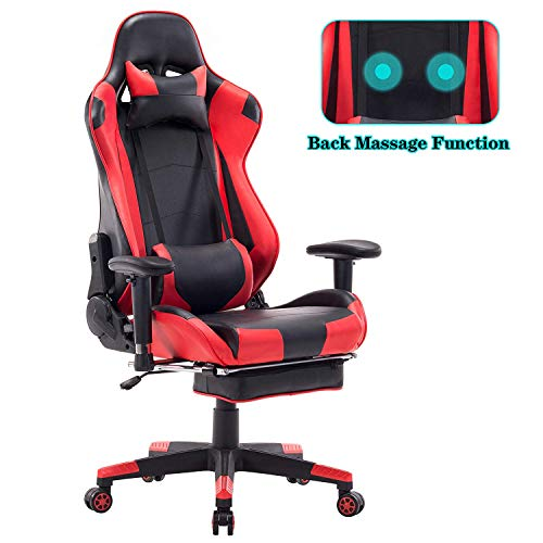 Blue Whale Back Massage Gaming Chair with Footrest,PC Computer Video Game Racing Gamer Chair High Back Reclining Executive Ergonomic Office Desk Chair with Headrest Lumbar Support Cushion 8204Red