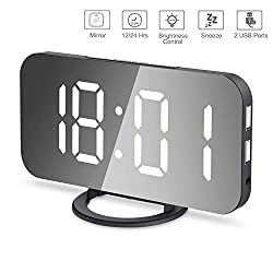 LED Digital Alarm Clock, Mirror Alarm Clock with Large 6.5 LED Display Mirror Surface Dimmer Mode Snooze Function Dual USB Ports Modern Alarm Clock for Home Bedroom Living Room Office Decor Travel
