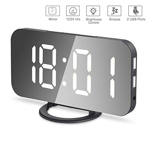 LED Digital Alarm Clock, Mirror Alarm Clock with Large 6.5